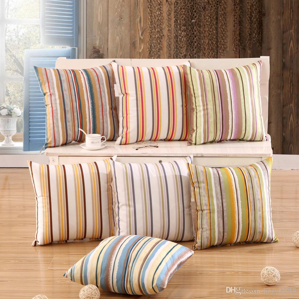 18inch Home Garden Outdoor Patio Square Striped Pillow Case Polyester Fabric Soft Body Sleep Bed Pillows Sofa Decortive Throw Cushion Pillow