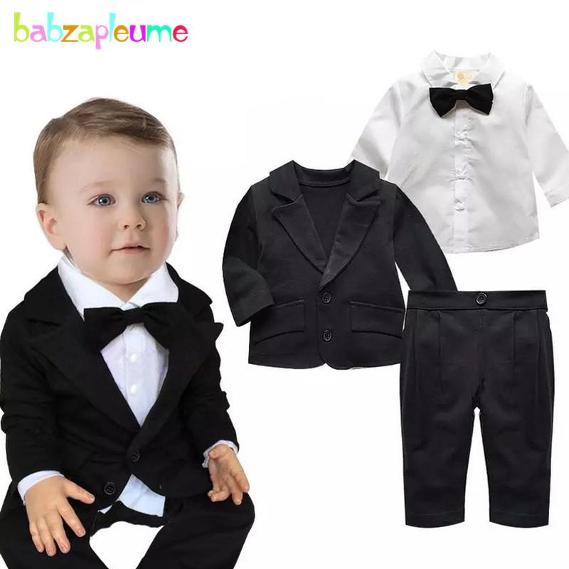 b70c6853ac710 2019 0 24M Spring Autumn Newborn Clothing Sets Jacket+Shirt+Pants Gentleman Baby  Suit Infant Boys Clothes 1st Birthday Outfits BC1018 From Laurul