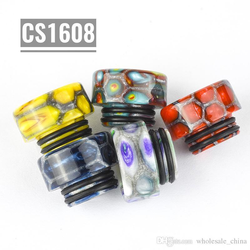 CS1608 810 Puntas de Resina Por Goteo Drip Silver Net Honeycomb Tip 16mm Fit TFV8 / TFV12 / TFVB Big Baby Boquilla Envío Gratis