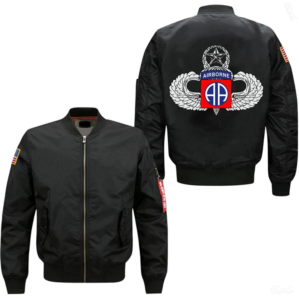 7054dc3d307383 2018 Hot Sale Man Bomber Jacket 82nd AIRBORNE DEVISON Printed Spring Autumn  Lining Cotton Windbreaker Coat USA Size Jackets On Sale Jackets For Sale  From ...