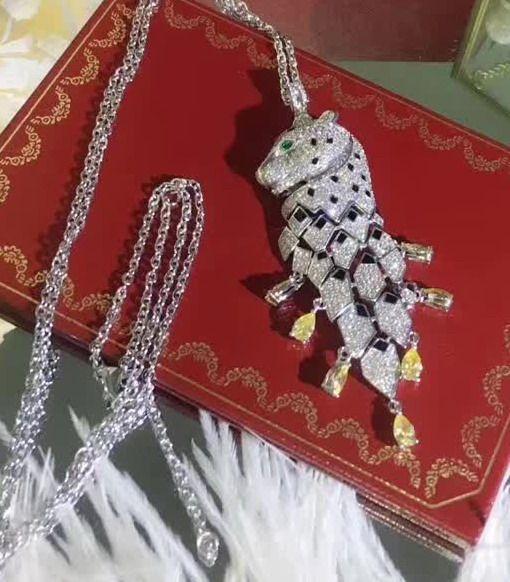 haute qualité nouvelle CZ diamant léopard pendentifs colliers designer 18K blanc plaqué or parti bijoux pour les femmes