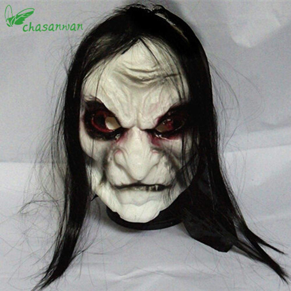 Realistic Scary Halloween Masks.Horror Halloween Mask Long Hair Ghost Scary Mask Props Grudge Ghost Hedging Zombie Realistic Silicone Masks Masquerade L