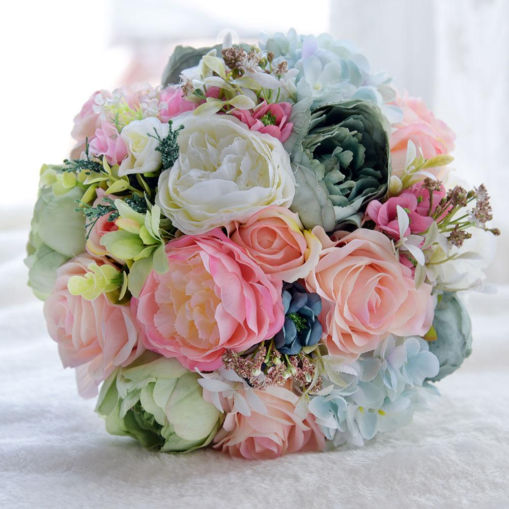 Elegant Colorful Real Touch Silk Flowers Peony Bouquets For Wedding