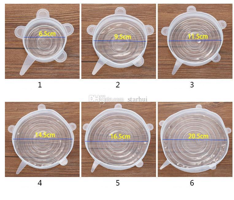 Silikon Streç Kapaklar Kapak Evrensel Piknik Gıda Taze Kase Tencere Tavalar Kupa Mutfak Araçları Aksesuarları Için Kapak Koruyun 6 adet / takım WX9-644
