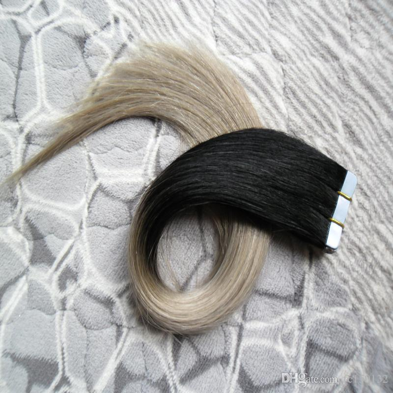 """Ombre Tape Hair T1B silver grey tape extension Package Adhesive Seamless Hair 100 Grams 10"""" 12"""" 14"""" 16"""" 18"""" 20"""" 22"""" 24"""" 26"""""""