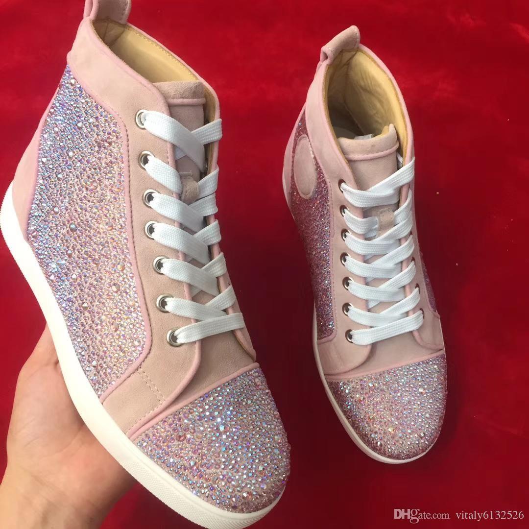 Modell Sneakers Großhandel Rosa Leder Mode Top Mit High Farbe CeWoBrdx