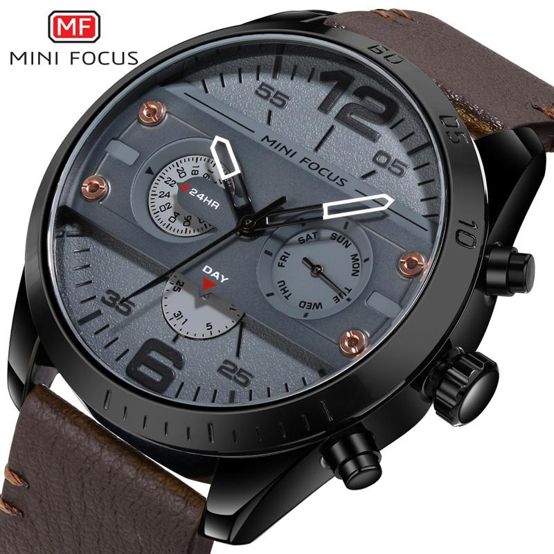 86247e1ce7c Compre 2018 Novos Homens Relógios Top Marca De Luxo MINIFOCUS Relógio De  Quartzo De Couro Dos Homens De Moda Masculina Sports Militar Relógio Relogio  ...