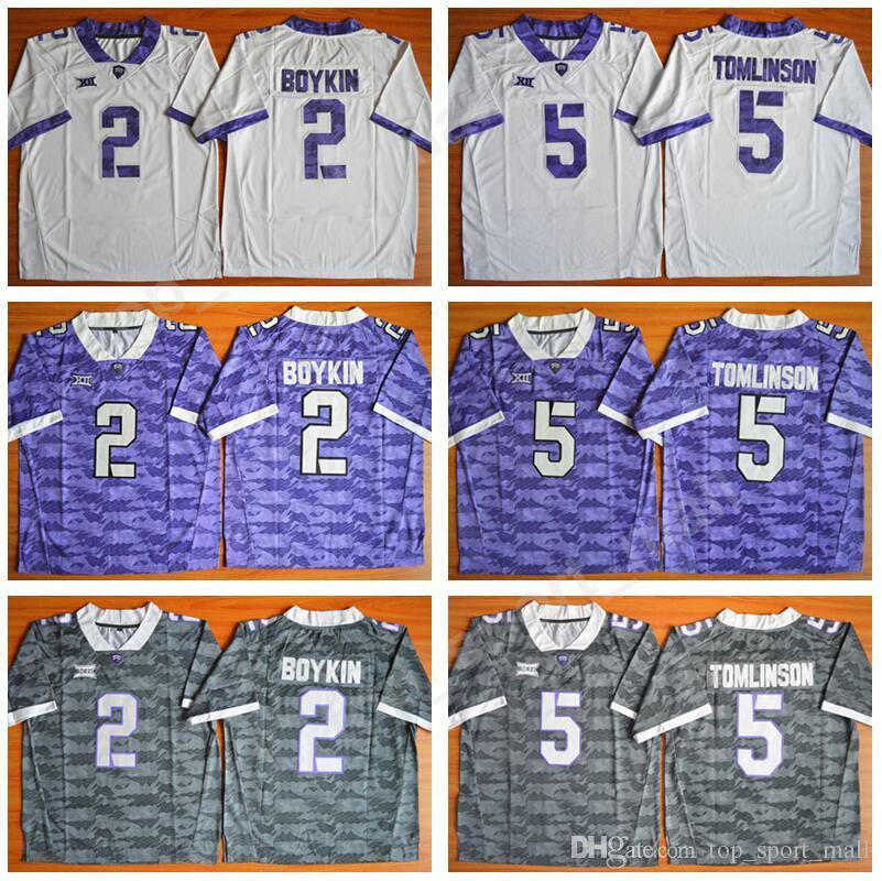 promo code a36ec 8aa20 NCAA College 2 Trevone Boykin Jersey Men TCU Horned Frogsb Football 5  LaDainian Tomlinson Jerseys Big 12 Stitched tEAM Purple White Grey