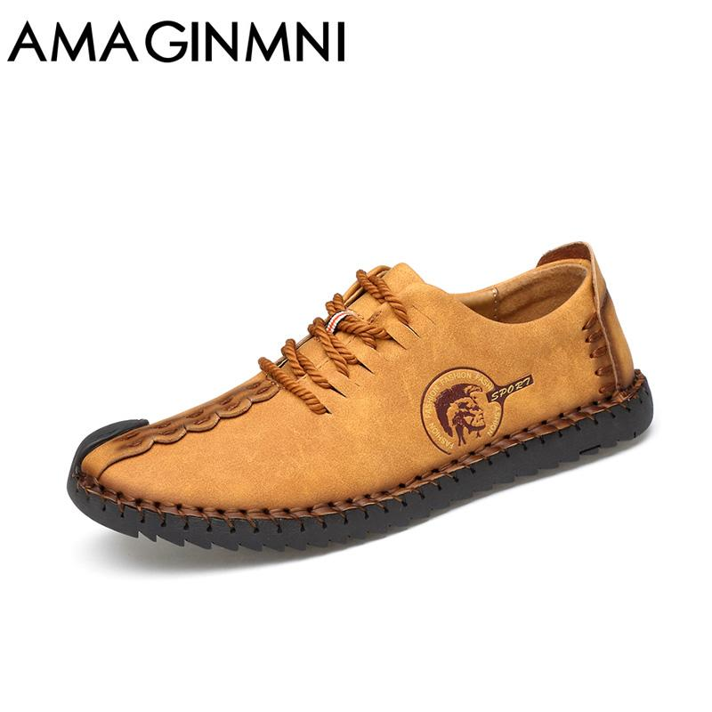 AMAGINMNI 2018 Fashion Comfortable Casual Shoes Loafers Men Shoes Quality Split Leather Shoes Men Flats Hot Sale Moccasins Shoe