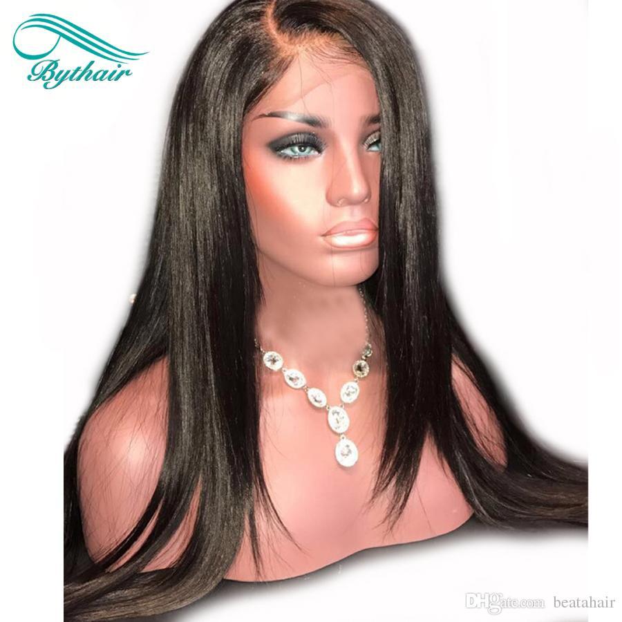 Bythairshop Gerade Volle Spitze Echthaar Perücken Für Schwarze Frauen Gerade Lace Front Perücke Reine Haarperücken Mit Dem Babyhaar Gebleichte Knoten