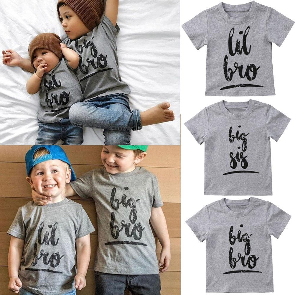 56b6641b7 Summer Casual Little Big Sisters Brothers Matching Tee Shirt Baby Kids Boy  Girl Cotton Tops T Shirt Clothing Matching Fall Outfits For Kids Matching  Couples ...