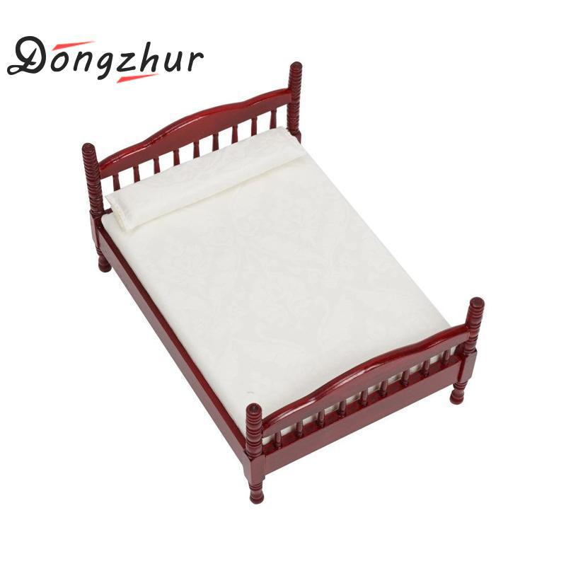 Dongzhur Dollhouse Miniatures 1:12 Accessories Mini Bed Toy Doll House  Bedroom Furniture Mahogany Double Bed Wooden Toy House Dolls House Plans  Dollhouse ...