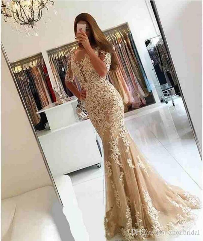 Champagne Lace Half Sleeves Mermaid Evening Prom Dresses Shee Neck Backless Evening Dress Long Backless Celebrity Cocktail Party Gowns