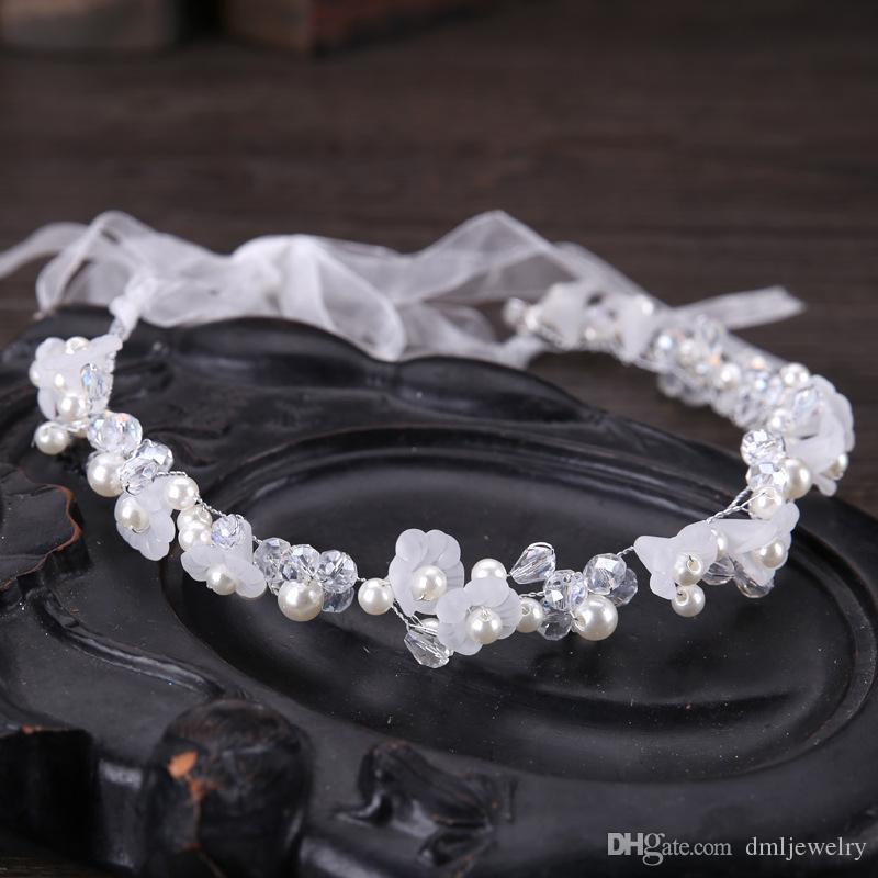 Серебряные хрустальные жемчужины свадебные головные уборы Цветочные свадебные повязки на голову Диадемы Женские ленты для волос Головной убор Девушки Детские головные уборы Платье Аксессуары для волос