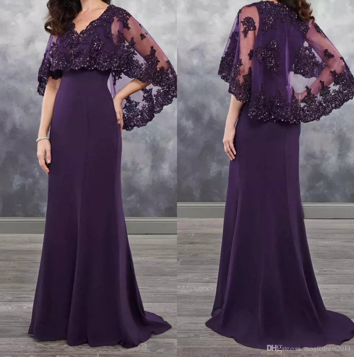2662c6f6a59 2018 Dark Purple Mother Of The Bride Dresses Chiffon With Bolero Sheer With  Applique Shining Sequins New Arrival Chiffon Wedding Guest Dress Mother  Groom ...