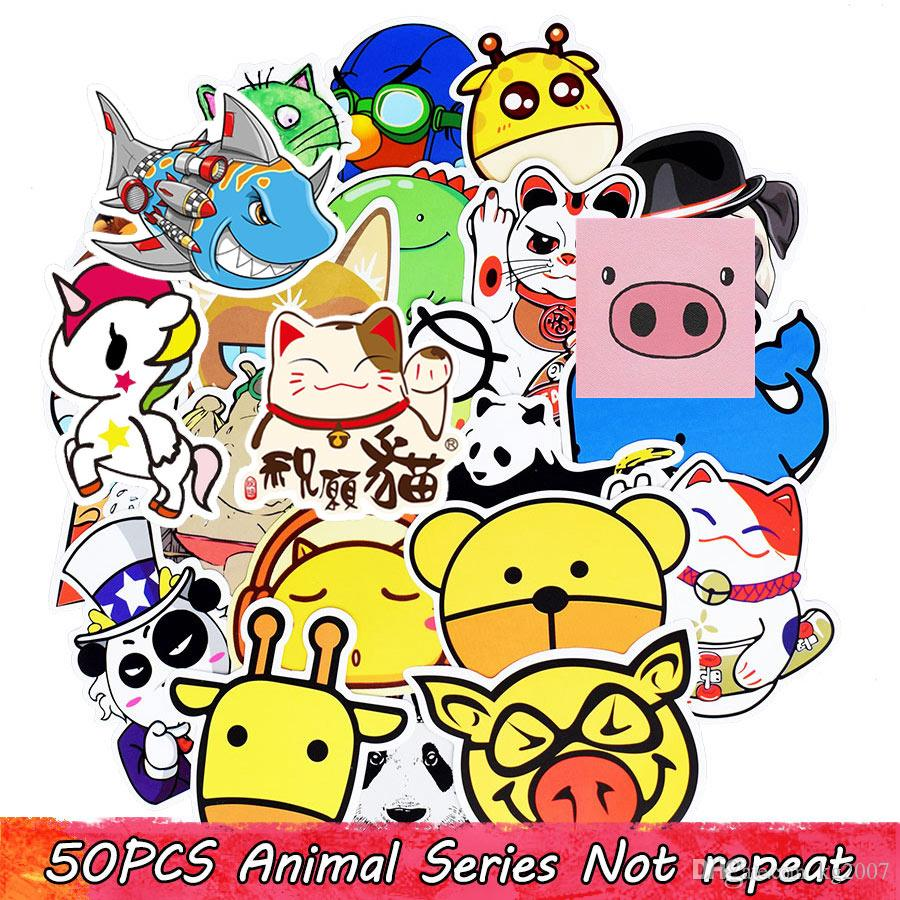 Waterproof Cartoon Animal Funny Mixed Stickers for Children Adults DIY Table Wall Home Decoration Bicycle Stationery Sreative Car Stickers