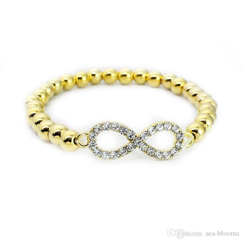 CCB Beads Pulseira Strass Cristal Cruz Amor Sinal Infinito Palavras 8 Pulseira de Ouro / Prata Para As Mulheres Meninas Moda Jóias Livre DHL G376S