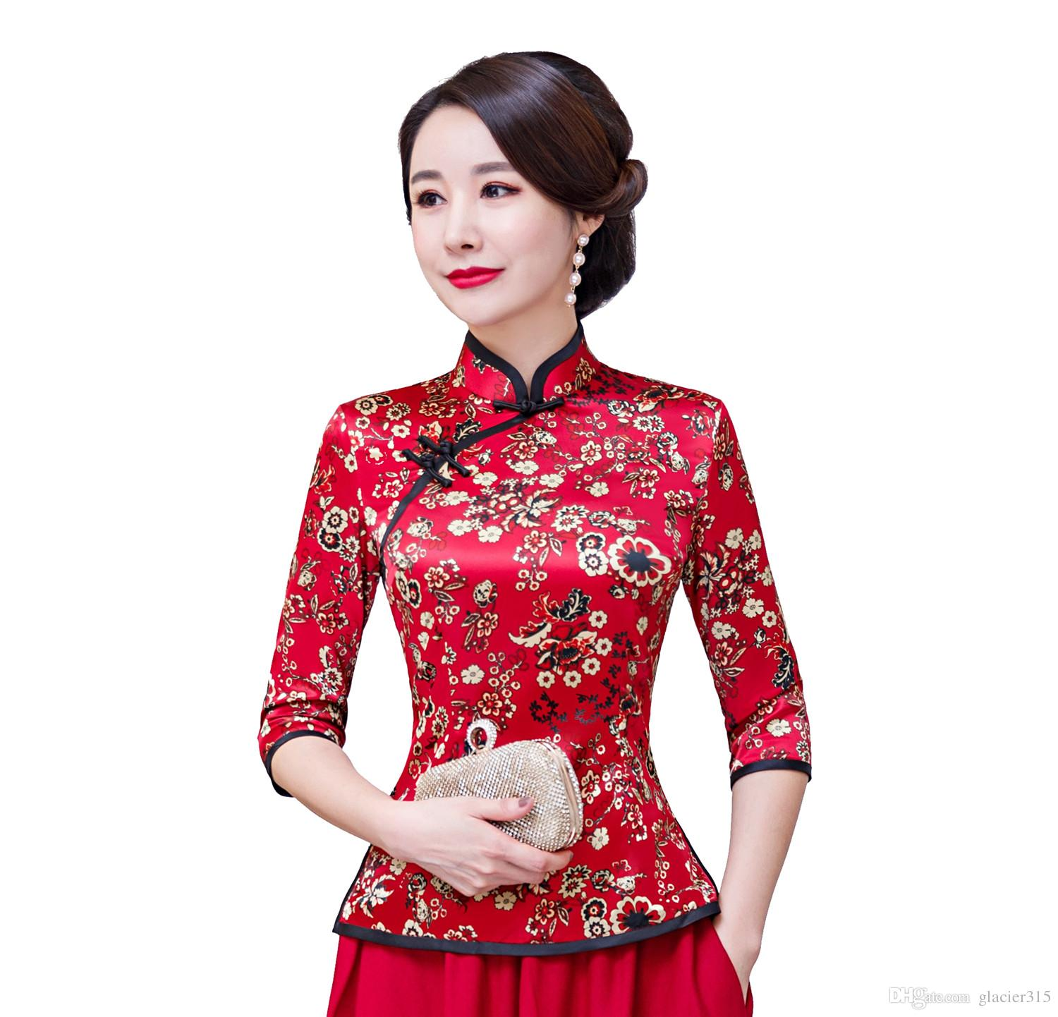 be0a03695b7dc8 Chemise chinoise Cheongsam Shanghai Story Qipao haut à manches 3/4  traditionnelle chinoise Top Fausse soie blouse chinoise pour les femmes