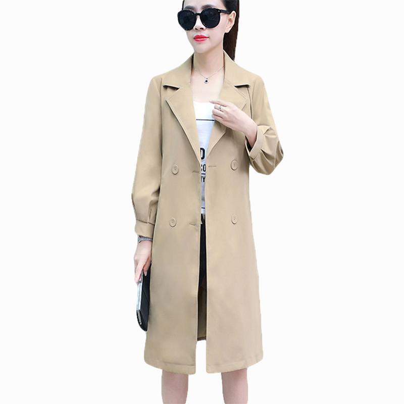 100% authentic d4e4e 1b239 Slim Belt Trenchcoat für Frauen Herbst Winter Mantel Damen Mantel  Zweireiher 9/10 Ärmel Feminino Khaki Blau Outwear