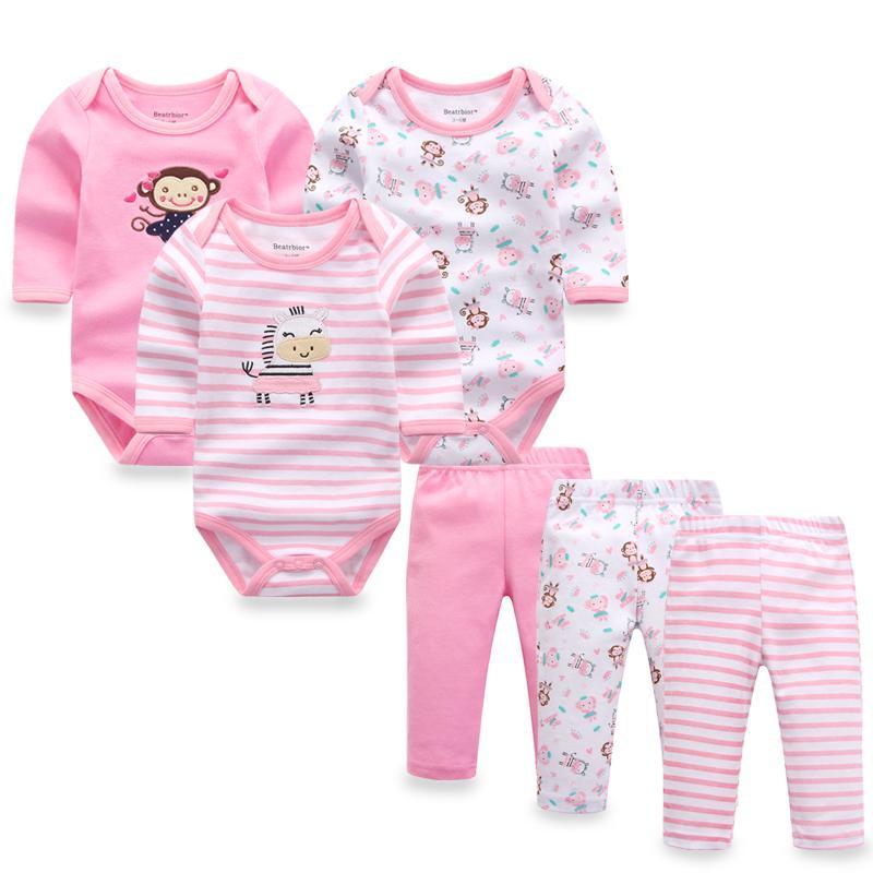 Compre 6 Unids   Lote Ropa De Bebé Niña Niño Recién Nacido Otoño    Primavera Algodón Mamelucos De Bebé + Pantalones Conjuntos De Ropa A  44.24  Del ... 7d55a2526f76