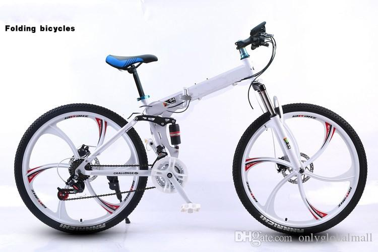 26 Inch folding mountain bike 27 speed double damping 3/6 knife wheel bicycle double disc brakes mountain bike