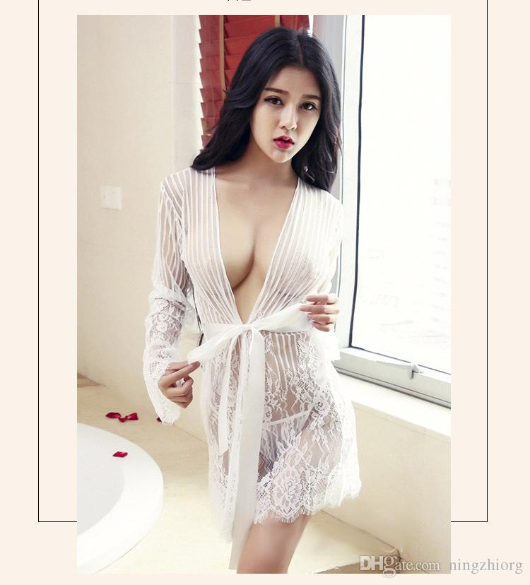 Sexy Lingerie temptation new summer pajamas set sex transparent lace Europe and the United States nightgown Wholesale