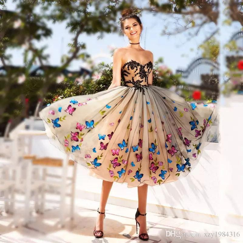 Colorful Butterfly Prom Dresses 2018 Sweetheart Black Lace Appliques  Evening Gowns Champagne Lace Up Back Tea Length Cocktail Party Dress Tight  Prom Dresses ... 62667f41fda1