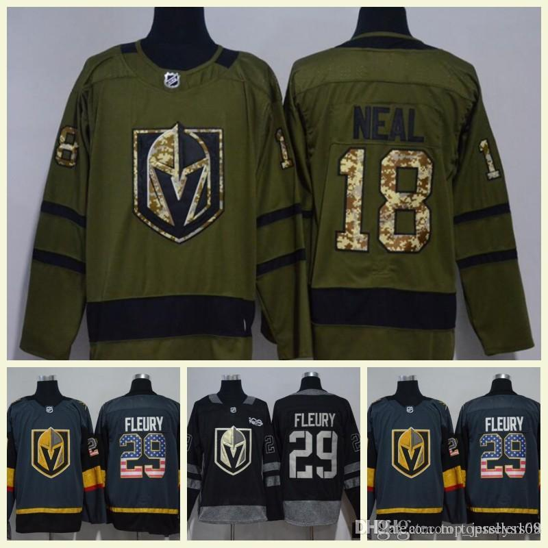 online store 21039 9c6d3 2018 Men s Las Vegas Knights 29 Marc-Andre Fleury 18 James Neal Army Green  USA Flag Black White Grey Ice Hockey Jerseys Wholesale