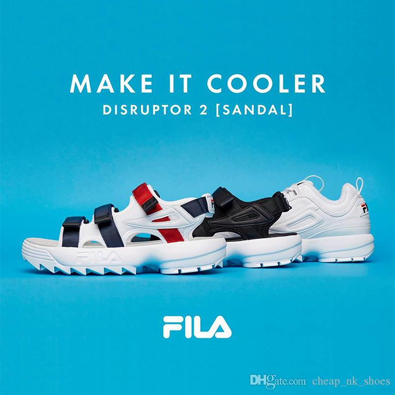 01f140a6c506 Fila Disruptors II 2 Men Women Sandals Black White Red Anti Slipping Quick  Drying Outdoor Slippers Soft Water Shoes Beach Sandals EUR 36 44 Mens  Sandals ...