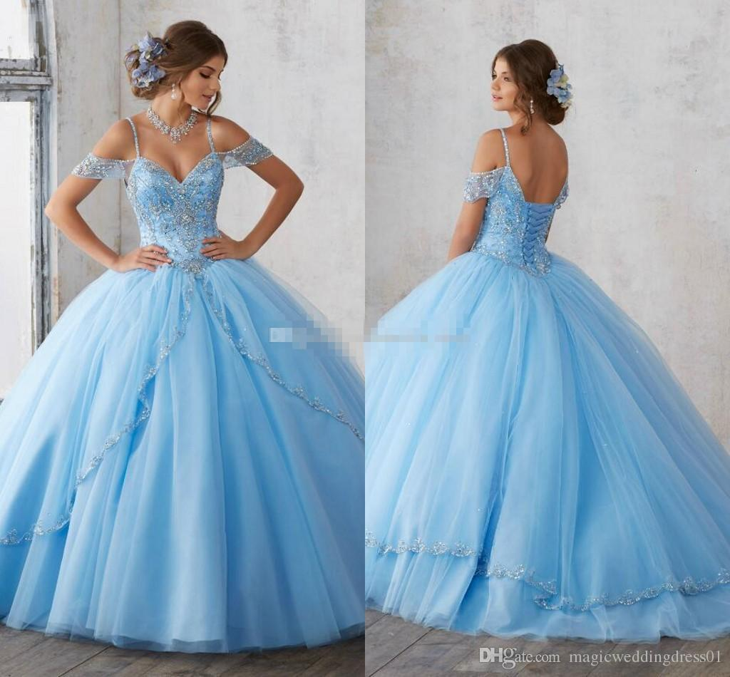 9a59b018d952e 2018 Light Sky Blue Ball Gown Quinceanera Dresses Cap Sleeves Spaghetti  Beading Crystal Princess Prom Party Dresses For Sweet 16 Girls