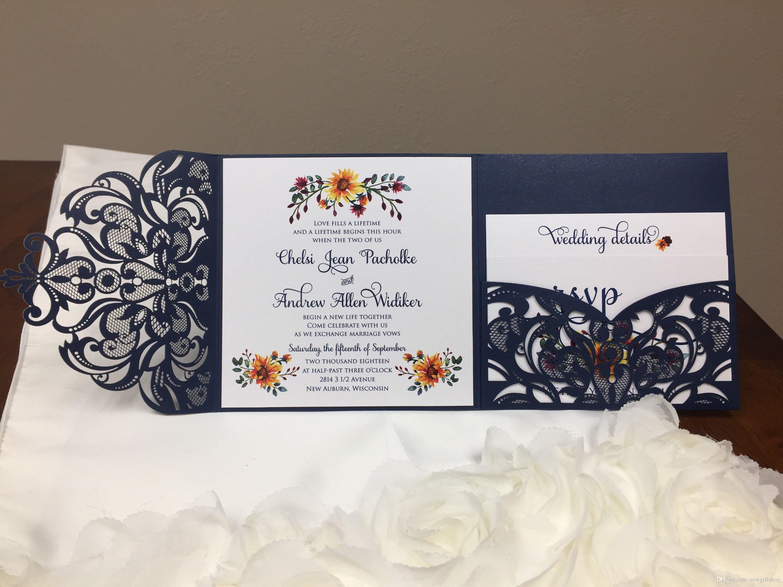 Many Color Gorgeous Laser Cut Wedding Invitations Pocket Dinner ...