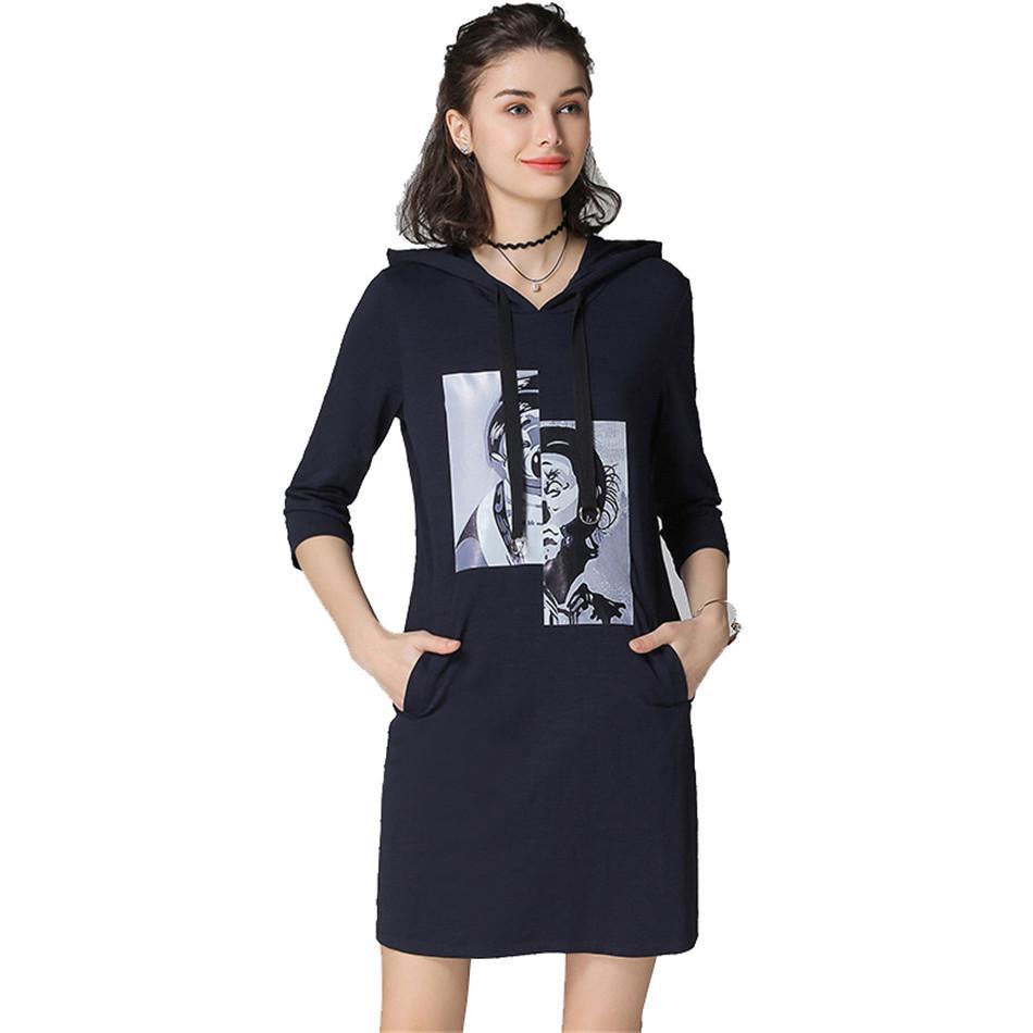 2019 Plus Size 4xl 5xl Dress Women Vestidos 2018 Moda Spring Casual Loose  Hoodies Dress Floral Print Cotton Short Clothes From Edmund02 203374480bfa