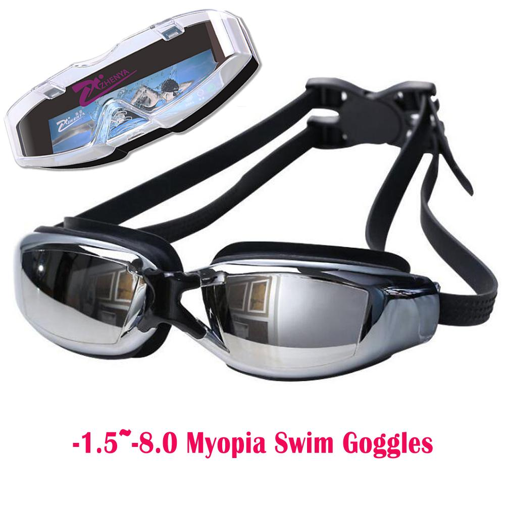 c15b58a1e6 2019 1.5~ 8.0 Myopia Swim Goggles Swimming Glasses Anti Fog UV ...