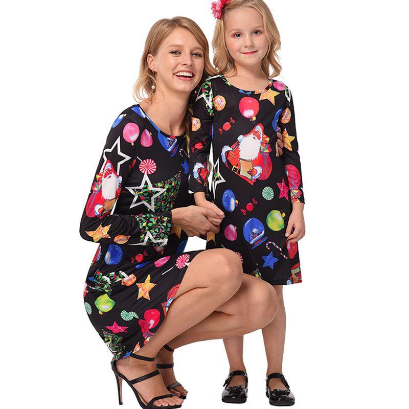 dfe3e613d3 best selling d6e39 26997 Dresses for Kids And Women Lucky Star Ice Snowball  Christmas Print Dress ...