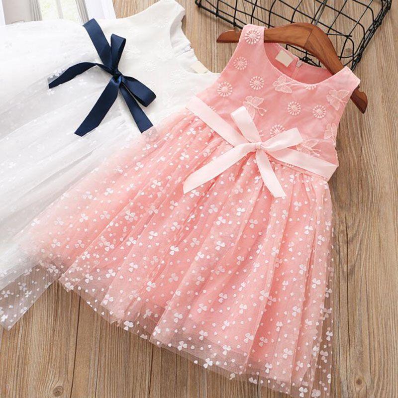 a5faf0c46 2019 Pink Dress For Girls Summer Net Yarn Girls Dresses Knee Length ...