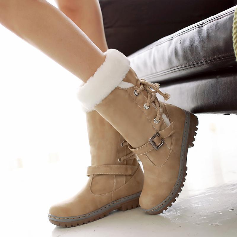 Acquista Stivali Invernali Da Donna In Cotone Caldo Plus Size Con Pelliccia  Calzature Femminili Casual Donna Stivali Da Neve Caviglia Scarpe Da Donna  ... 228a09b4243