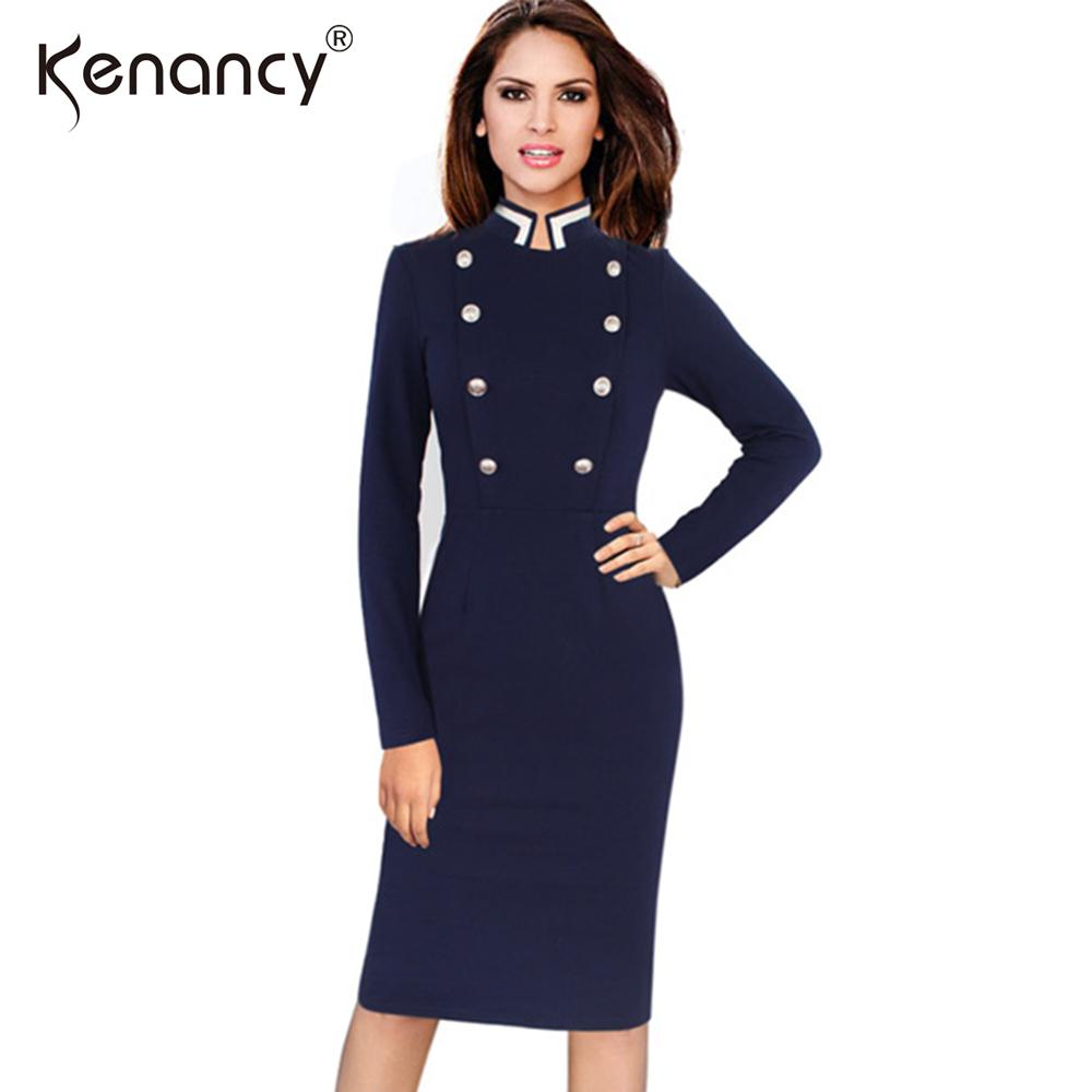 Kenancy Fashion New 3XL Plus Size Double-breasted Office Pencil ... a9463721d652