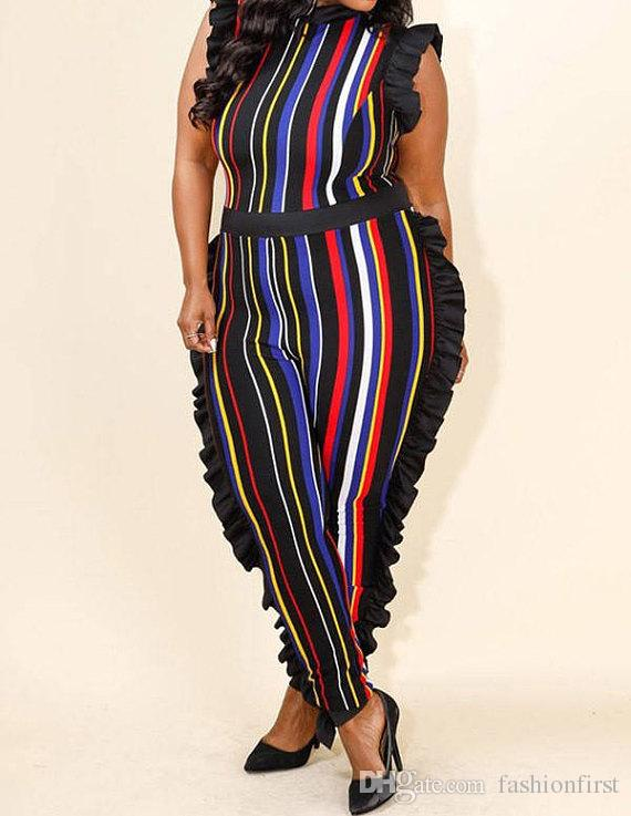 cbe036844350 2019 Sexy Stripe Printed Elegance Rompers Womens Bodycon Jumpsuit 2018 Lady  Summer Comfortable Ruffled Bodysuit Club Wear Female Jumpsuits From  Fashionfirst ...