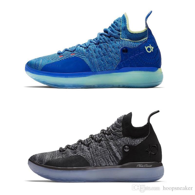 2018 2018 Top Quality KD 11 Grey Black Basketball Shoes Blue ...