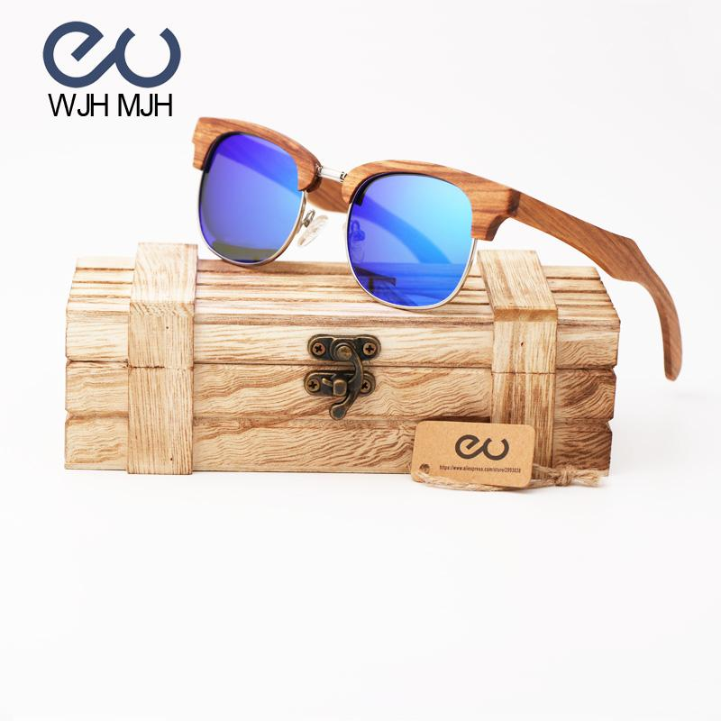 984887f661 WJH MJH Mens Vintage Wooden Bamboo Sunglasses Polarized Mirrored ...