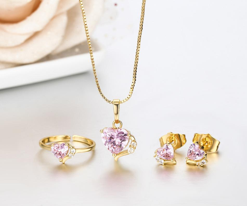 Cute Peach Heart CZ Yellow Gold Color Pendant Necklace Stud Earrings Ring Small Jewelry Sets for Women Girls Kids Child