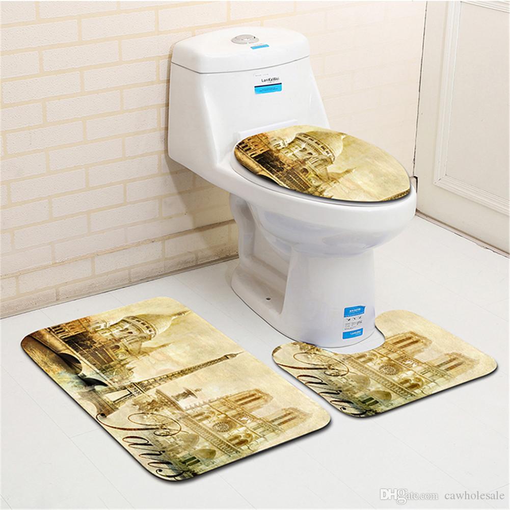 3Pcs//Set Durable Animal Print Non-slip Bath Mat Toilet Rug Bathroom Supplies