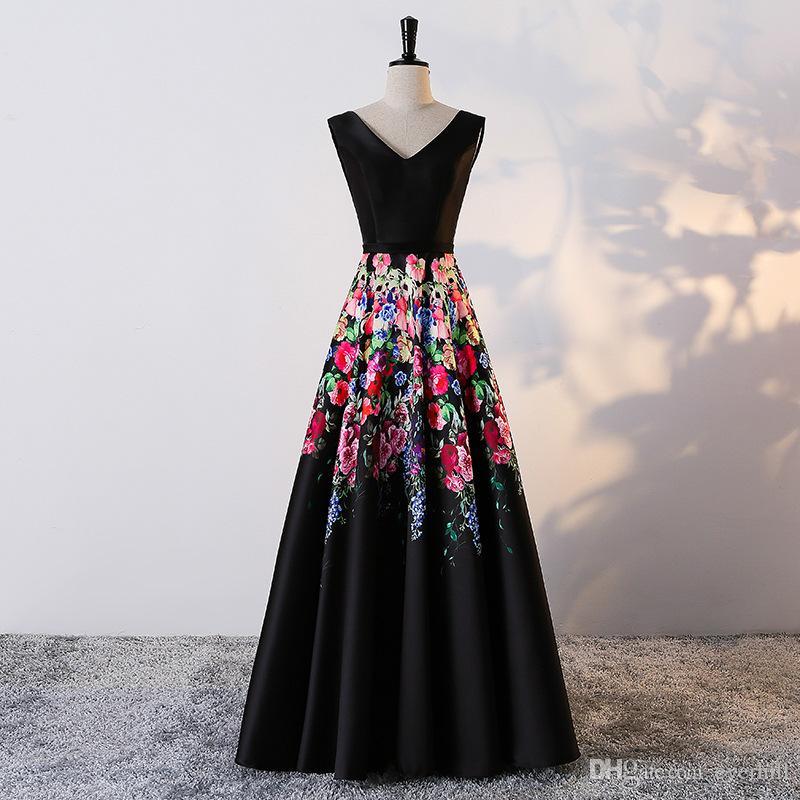 0577083e50 Floral preto Mulheres Prom Vestidos Longos Vestidos de Noite Com Flores de  Impressão Padrão Com Decote Em V-Linha Adolescentes Vestidos de Festa Até O  Chão ...
