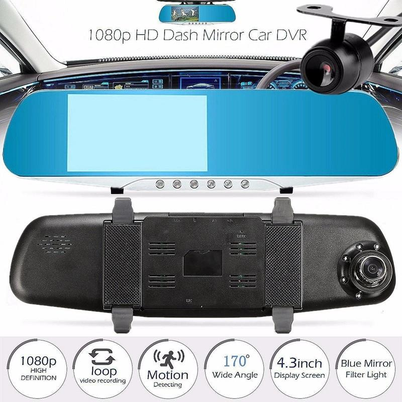 "4.3"" rearview car DVR vehicle dashcam mirror 2Ch car video camera dual cams full HD 1080P 170° night vision G-sensor parking monitor"