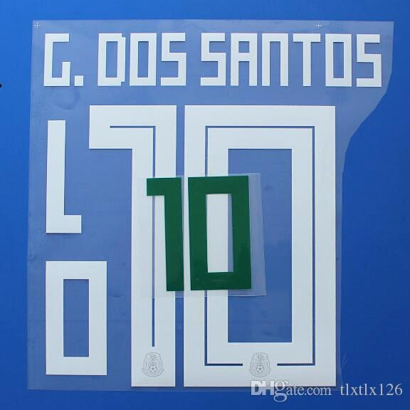 2018 DÜNYA KUPASI Meksika Milli takım futbol Isim Özelleştirme Adı A-Z Numarası 0-9 Baskı Futbol Oyuncu font nameset