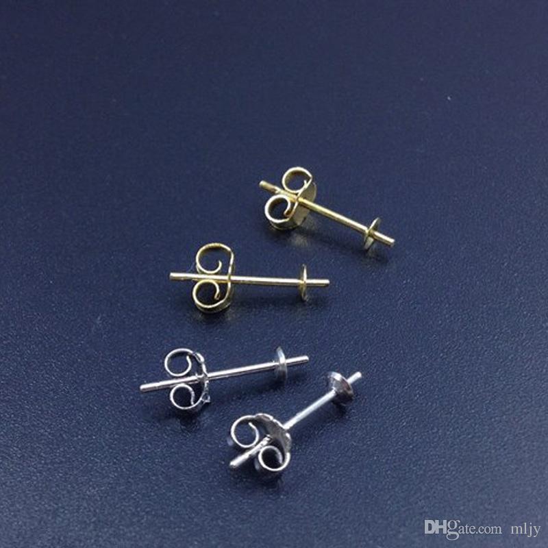 925 Sterling Silver Earrings Setting 3mm 5mm Stud Earring Post Cup Pin Pearl Setting Findings DIY Earrings Settings