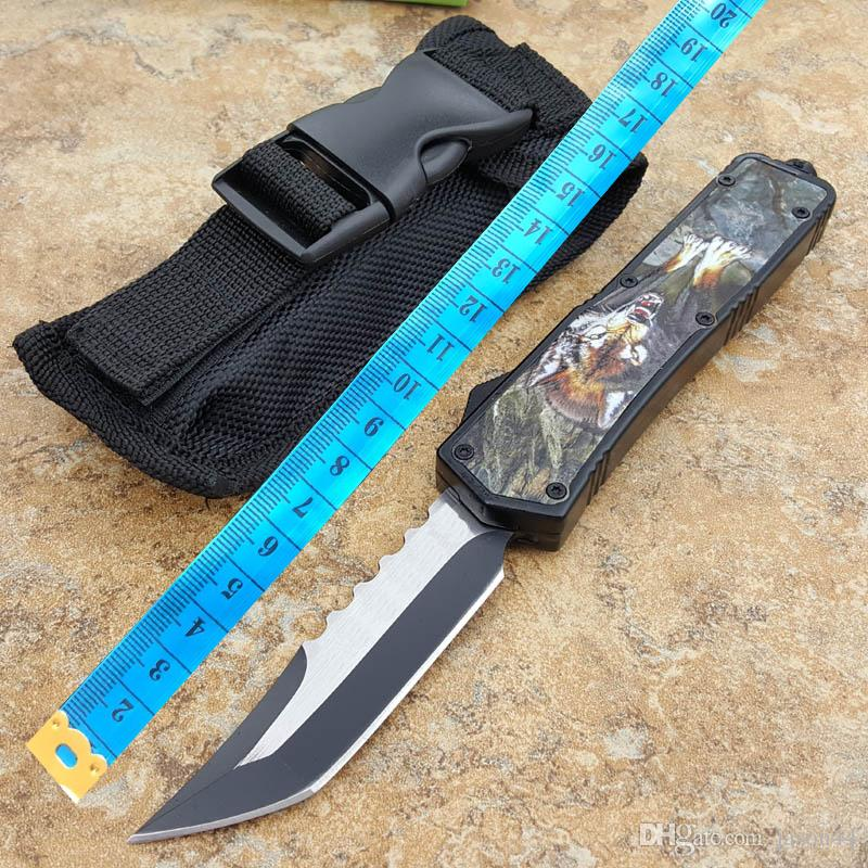 2 style color A07 automatic knife from Wolf pattern/carbon fiber pattern black pocket clip camping cutting tool folding pocket knife