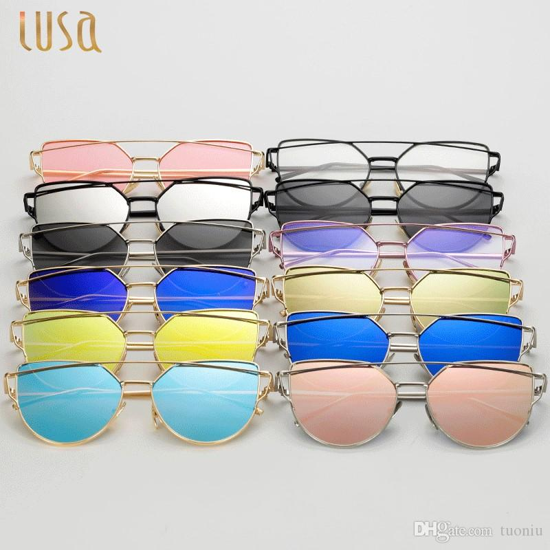 7746f46049bfd 2019 Wholesale Vintage Rose Gold Cat Eye Sunglasses Women Brand Design Twin  Beams Optical Eyeglasses Frame Men Sun Glasses For Female Toys From Tuoniu