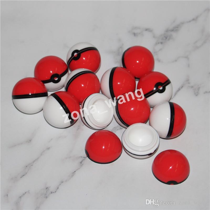 Pokeball Silikonbehälter Wachs Gläser Lebensmittelqualität Silikongel Ball Förmigen Aufbewahrungsbox Für Trockene Kräutervaporizer Glas Bong Zubehör DHL Geben
