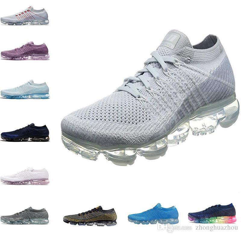 2018 New VaporMax 2.0 Black and white Men casual Shoes Midnight Fog Black and White Racer BlueReal Quality Mens Casual Vapor Maxes casua amazon teUXWS